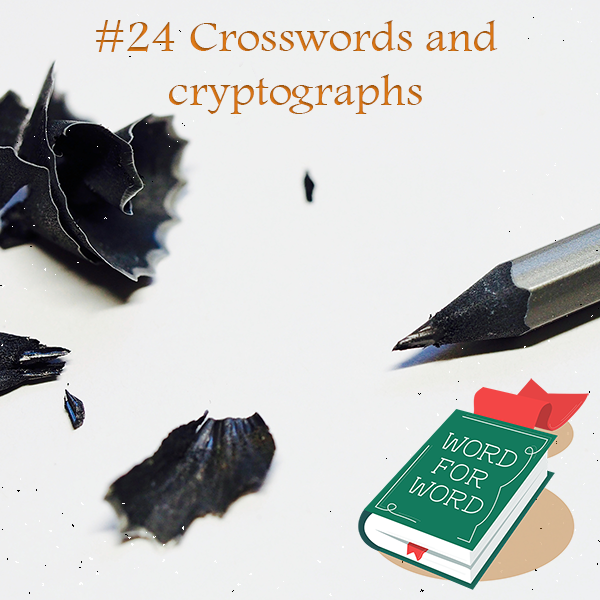 Image of pencil shavings and text: 24 Crosswords and cryptographs
