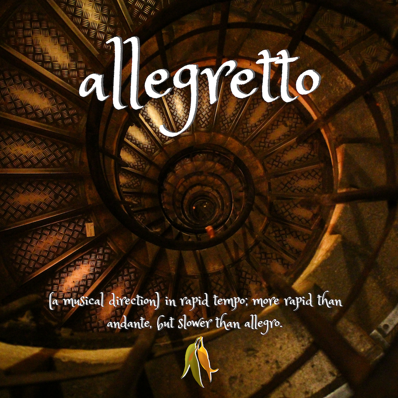 Beautiful words - allegretto - in rapid tempo, a musical direction