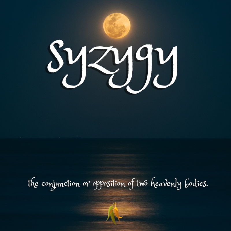 beautiful words - syzygy - the conjunction or opposition of two heavenly bodies; a point in the orbit of a body, as the moon, at which it is in conjunction with or in opposition to the sun.