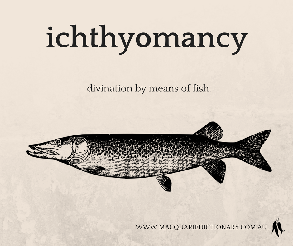 ichthyomancy	divination by means of fish.