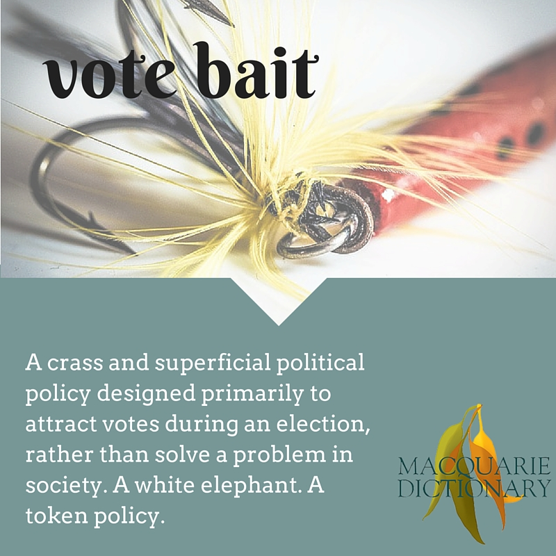 vote bait A crass and superficial political policy designed primarily to attract votes during an election, rather than solve a problem in society. A white elephant. A token policy.