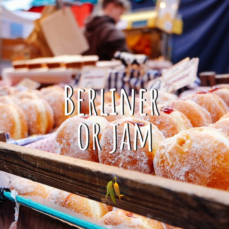 Macquarie Dictionary-Berliner or jam-a rounded doughnut enclosing a filling of jam.