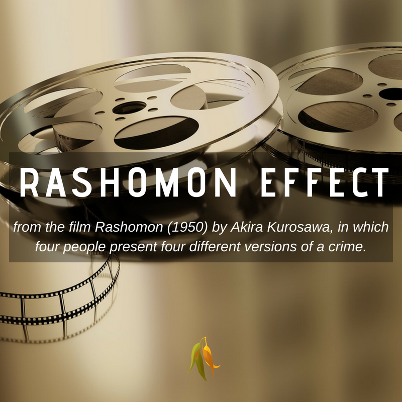 Macquarie Dictionary-rashamon effect-from the film Rashomon (1950) by Akira Kurosawa, in which four people present four different versions of a crime.