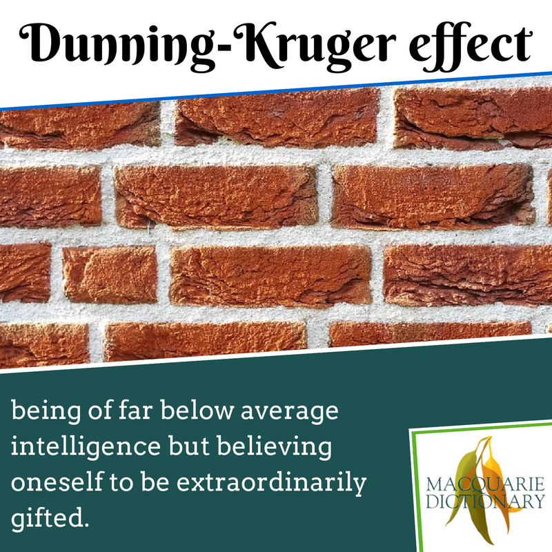 Macquarie Dictionary - Dunning-Kruger effect - being of far below average intelligence but believing oneself to be extraordinarily gifted.