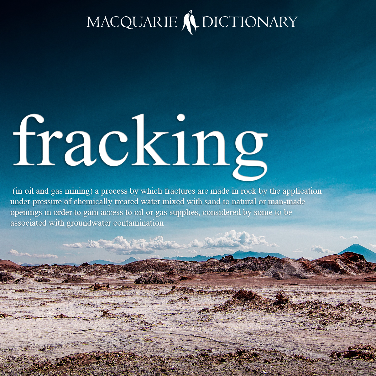 fracking - (in oil and gas mining) a process by which fractures are made in rock by the application under pressure of chemically treated water mixed with sand to natural or man-made openings in order to gain access to oil or gas supplies, considered by some to be associated with groundwater contamination; fracking.