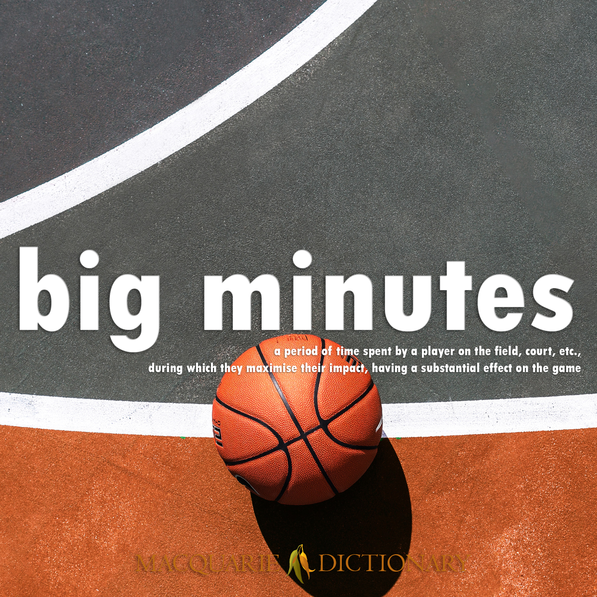 Image of Macquarie Dictionary Word of the Year - big minutes - a period of time spent by a player on the field, court, etc., during which they maximise their impact, having a substantial effect on the game