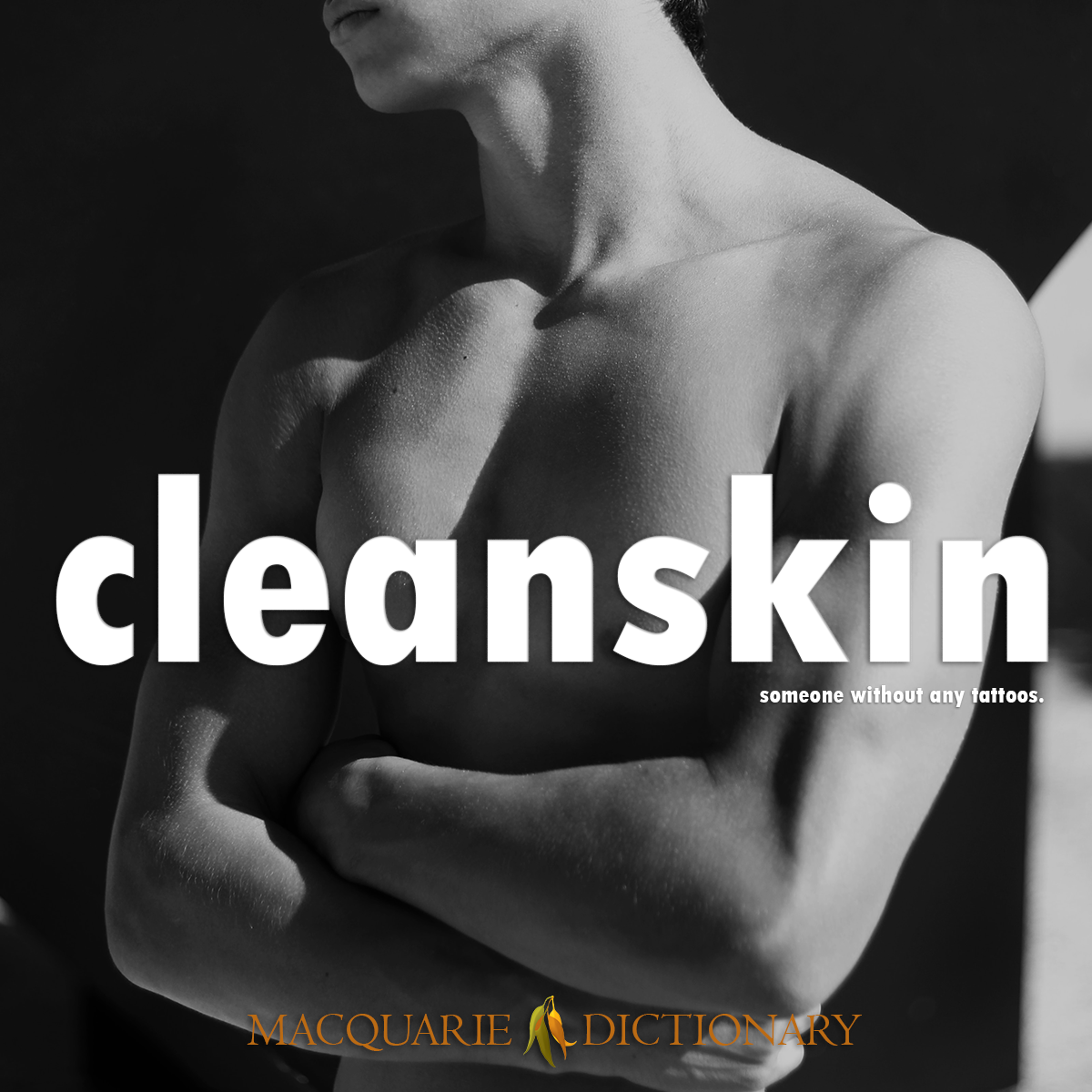 Image of Macquarie Dictionary Word of the Year cleanskin someone without any tattoos.
