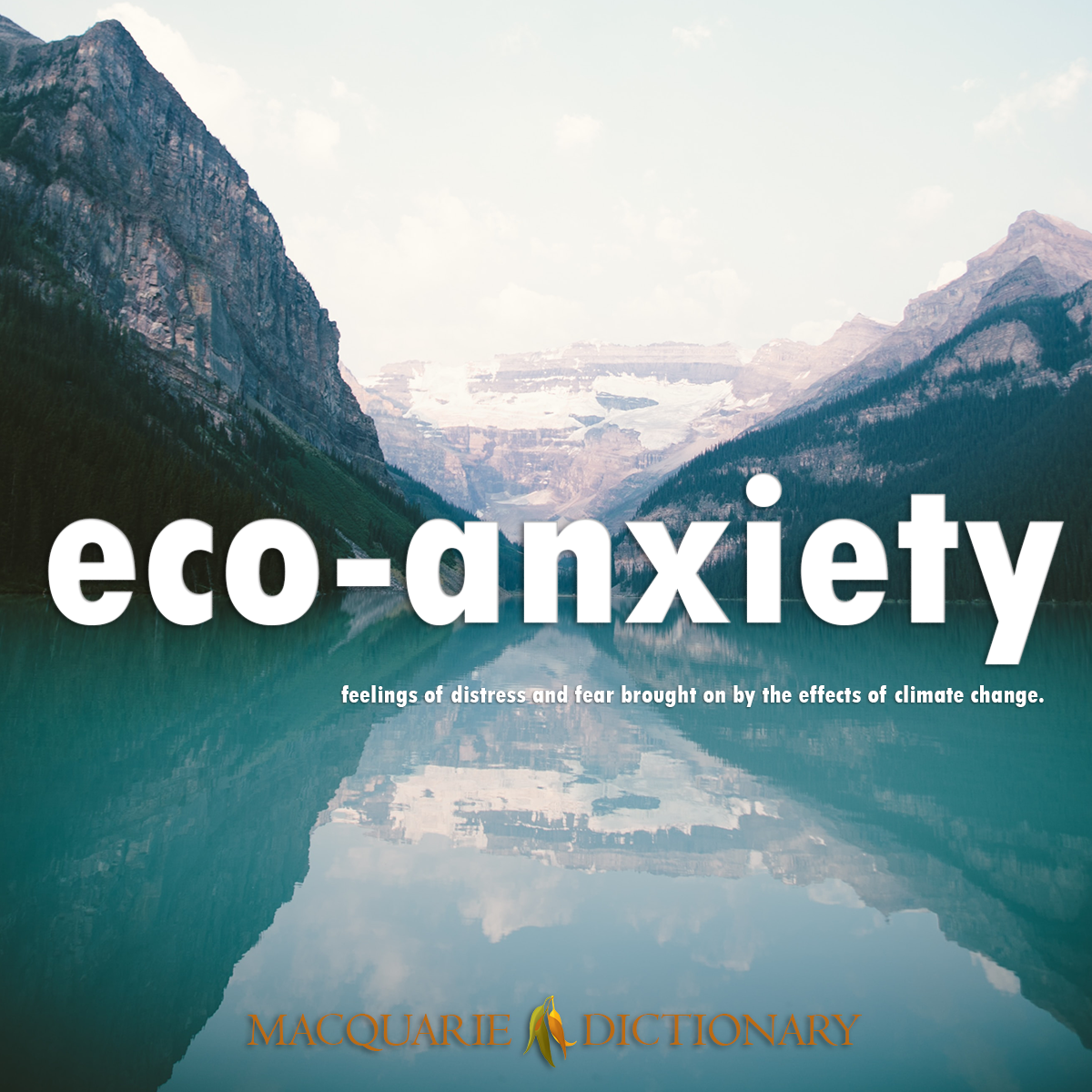 Image of Word of the Year Macquarie Dictionary eco-anxiety feelings of distress and fear brought on by the effects of climate change.