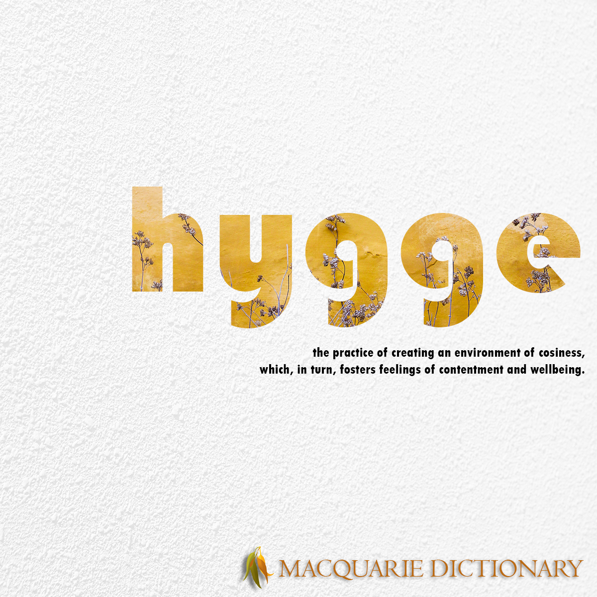 Image of Macquarie Dictionary Word of the Year - hygge - the practice of creating an environment of cosiness, which, in turn, fosters feelings of contentment and wellbeing.