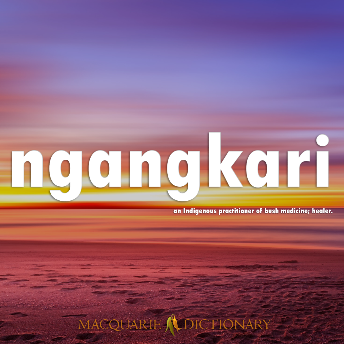 Image of Macquarie Dictionary Word of the Year ngangkari an Indigenous practitioner of bush medicine; healer.