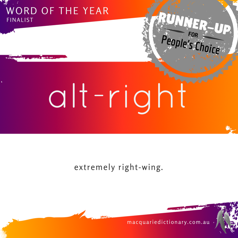 Macquarie Dictionary Word of the Year 2016 People's Choice alt-right