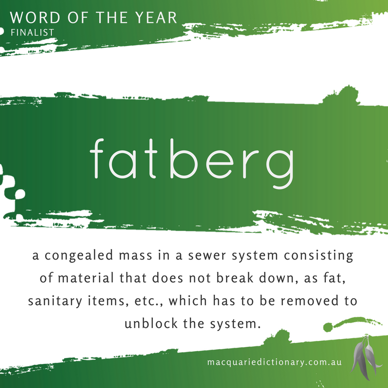 Macquarie Dictionary Word of the Year 2016 fatberg