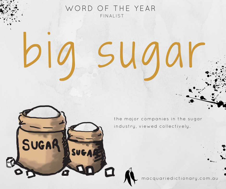 Macquarie Dictionary Word of the Year 2017 - big sugar - the major companies in the sugar industry, viewed collectively.