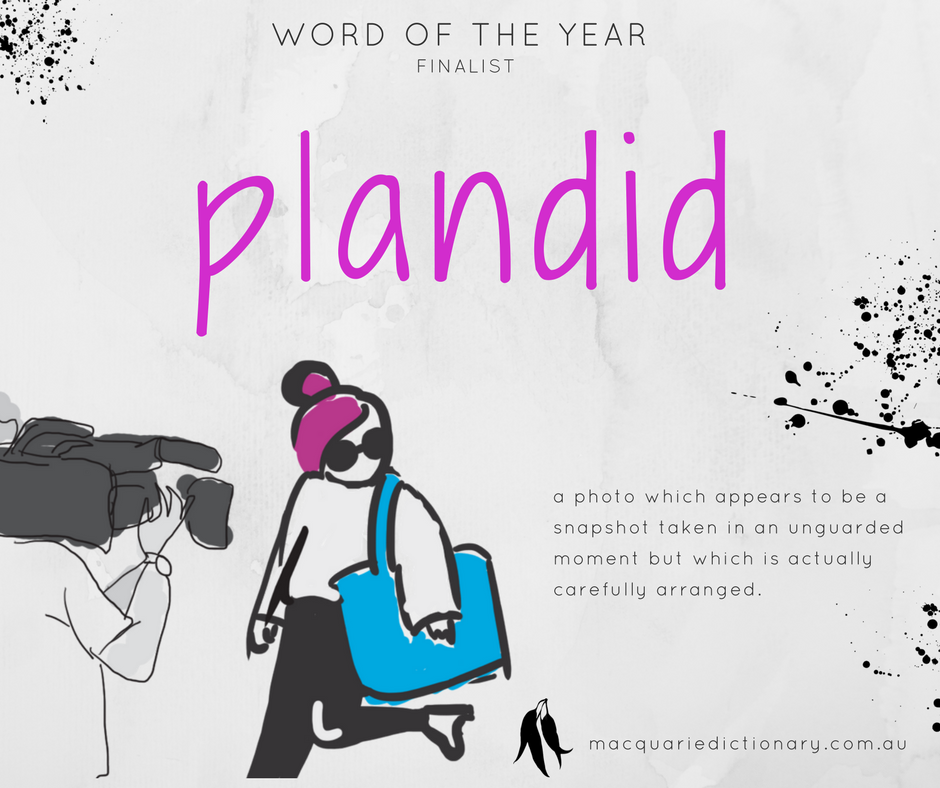Macquarie Dictionary Word of the Year 2017 - plandid - a photo which appears to be a snapshot taken in an unguarded moment but which is actually carefully arranged.