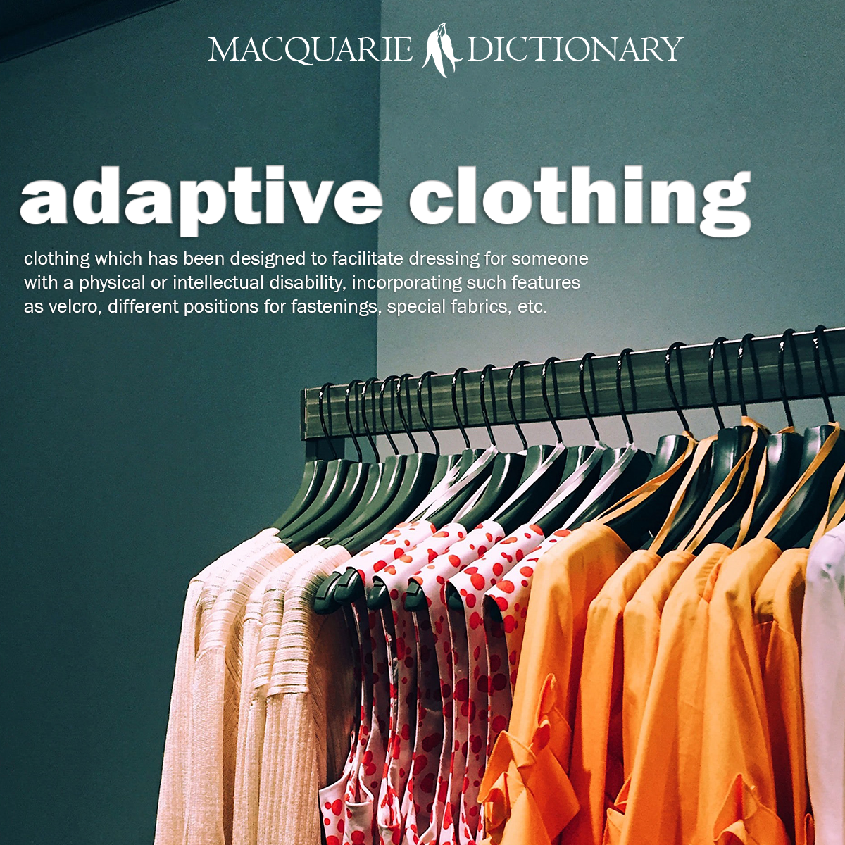 adaptive clothing - clothing which has been designed to facilitate dressing for someone with a physical or intellectual disability, incorporating such features as velcro, different positions for fastenings, special fabrics, etc