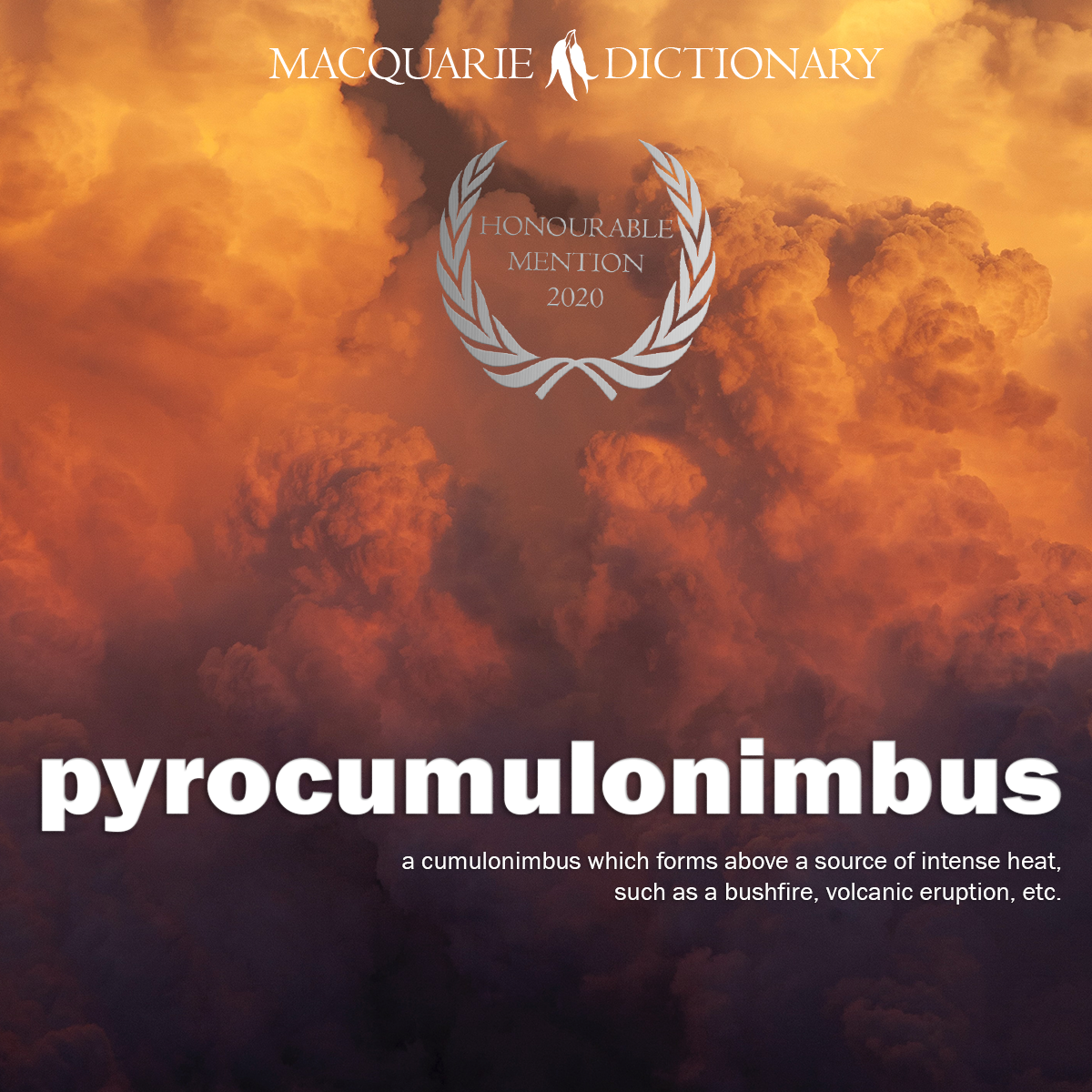 pyrocumulonimbus - a cumulonimbus which forms above a source of intense heat, such as a bushfire, volcanic eruption, etc.