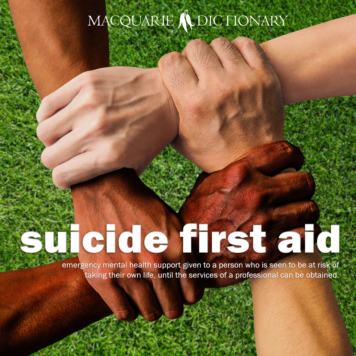suicide first aid - emergency mental health support given to a person who is seen to be at risk of taking their own life, until the services of a professional can be obtained.