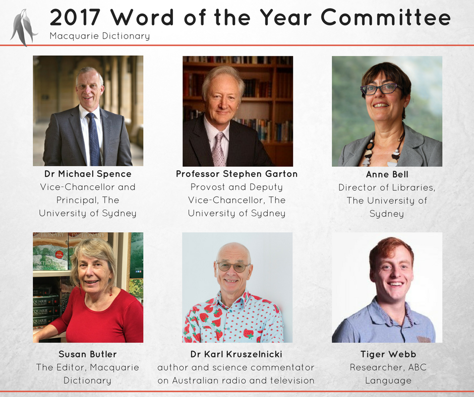 Committee for Macquarie Dictionary Word of the Year 2017