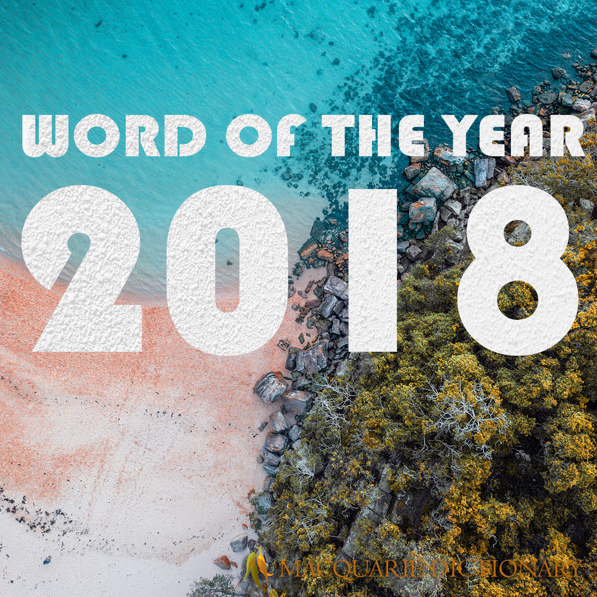 Image of beach with text 2018 Word of the Year