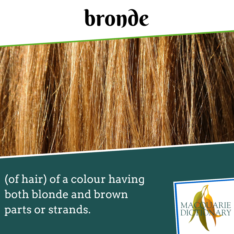 Macquarie dictionary new words - bronde - (of hair) of a colour having both blonde and brown parts or strands