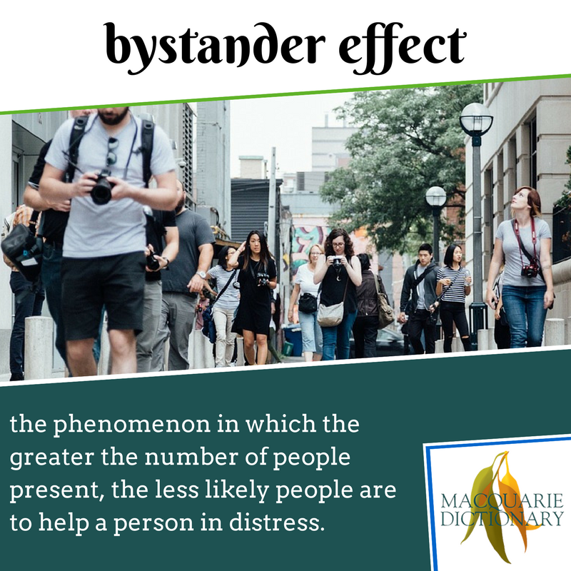 Macquarie Dictionary new words - bystander effect - the phenomenon in which the greater the number of people present, the less likely people are to help a person in distress.
