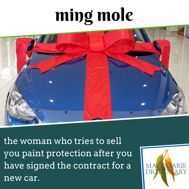 Macquarie Dictionary new words -  ming mole - woman who tries to sell paint protection after you have signed the contract for a new car (from tm Ming)