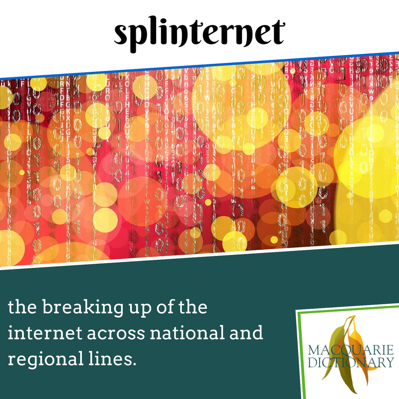 Macquarie Dictionary new words - splinternet - the breaking up of the internet across national and regional lines.