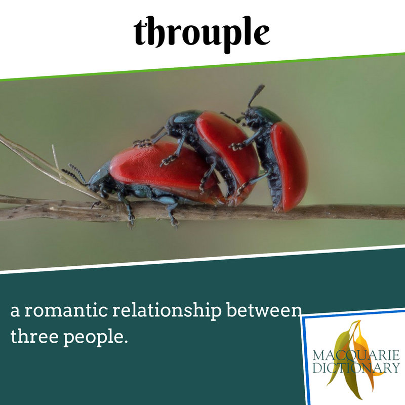 Macquarie Dictionary new words -  throuple - a romantic relationship between three people