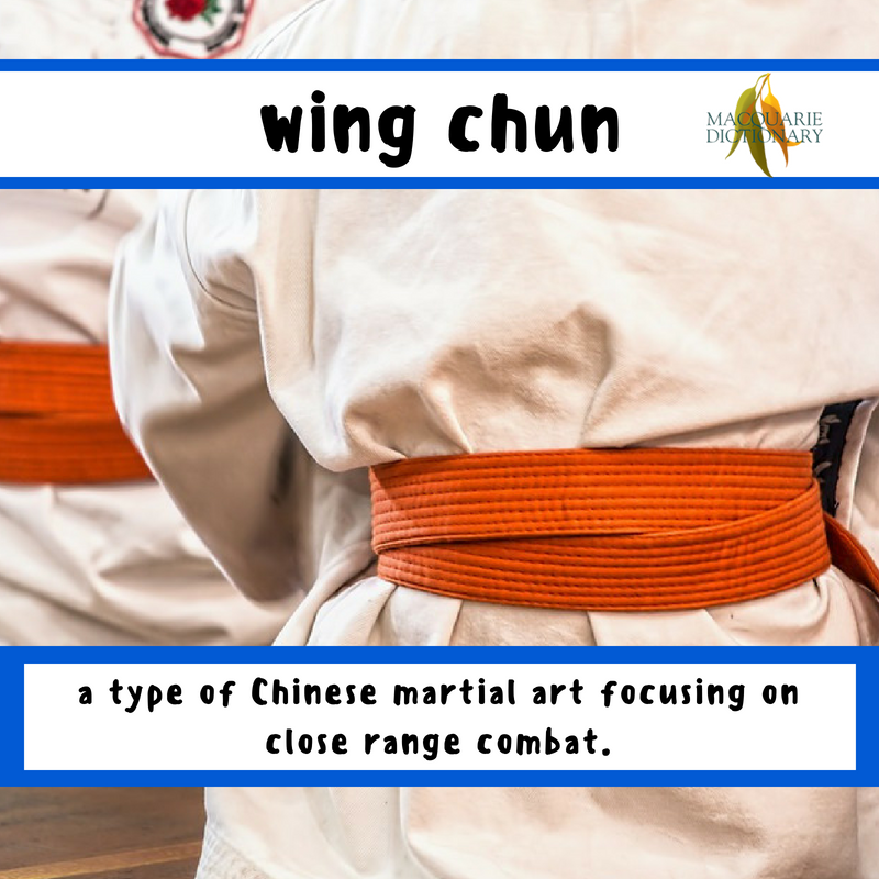 Macquarie Dictionary-wing chun-a type of Chinese martial art focusing on close range combat