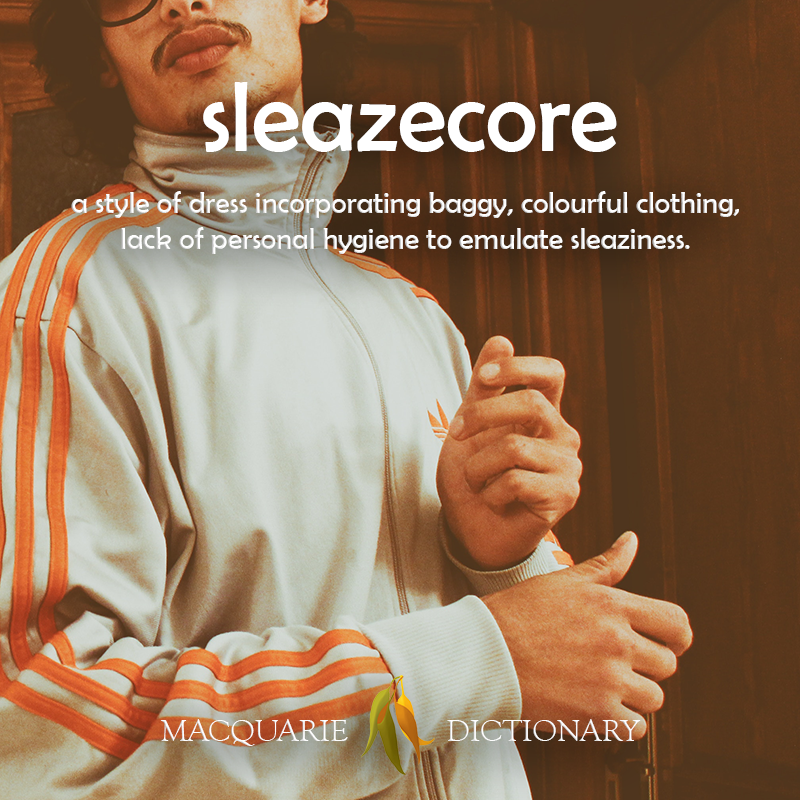 Image of definition of sleazecore: a style of dress incorporating baggy, colourful clothing, lack of personal hygiene to emulate sleaziness.