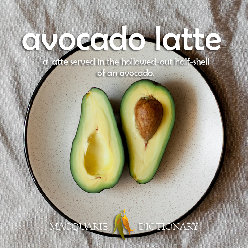 New words square - avocado latte - a latte served in the hollowed-out half-shell of an avocado