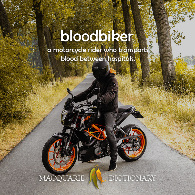 blood biker - a motorcycle rider who transports blood between hospitals