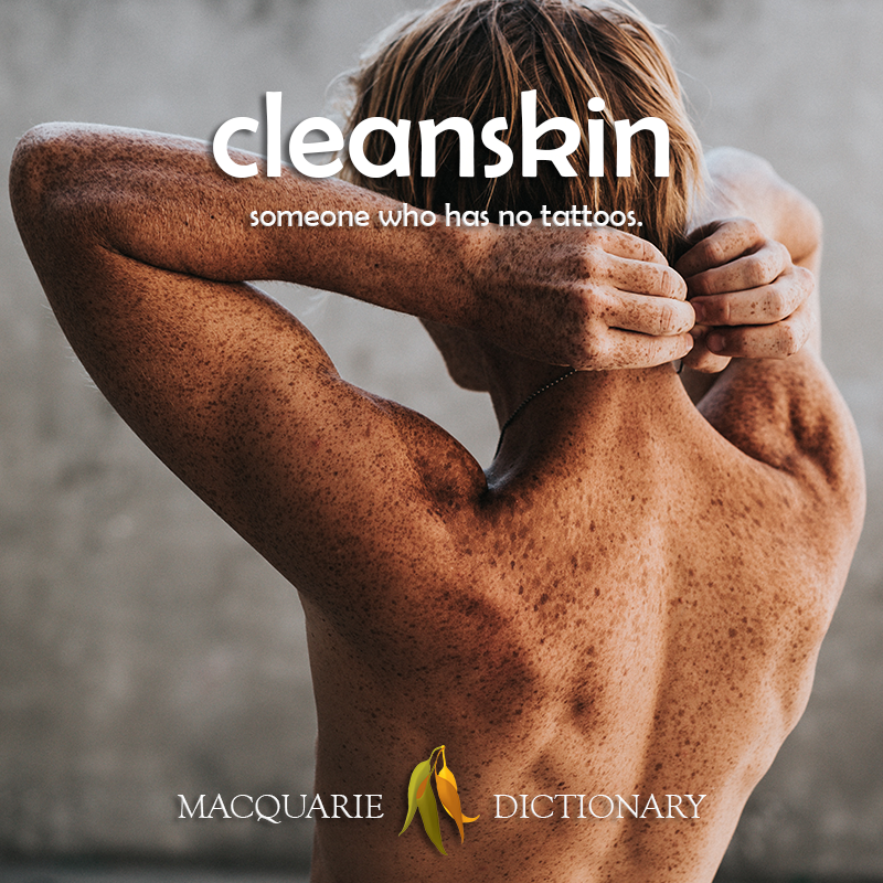 New words square - cleanskin - someone who has no tattoos
