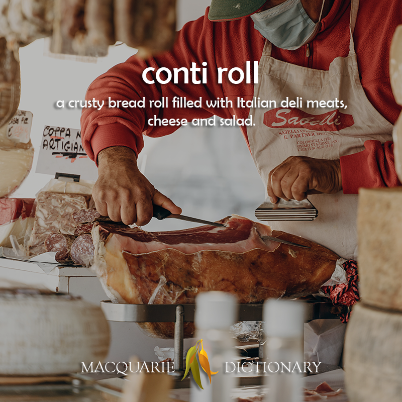 conti roll - a crusty bread roll filled with Italian deli meats, cheese and salad