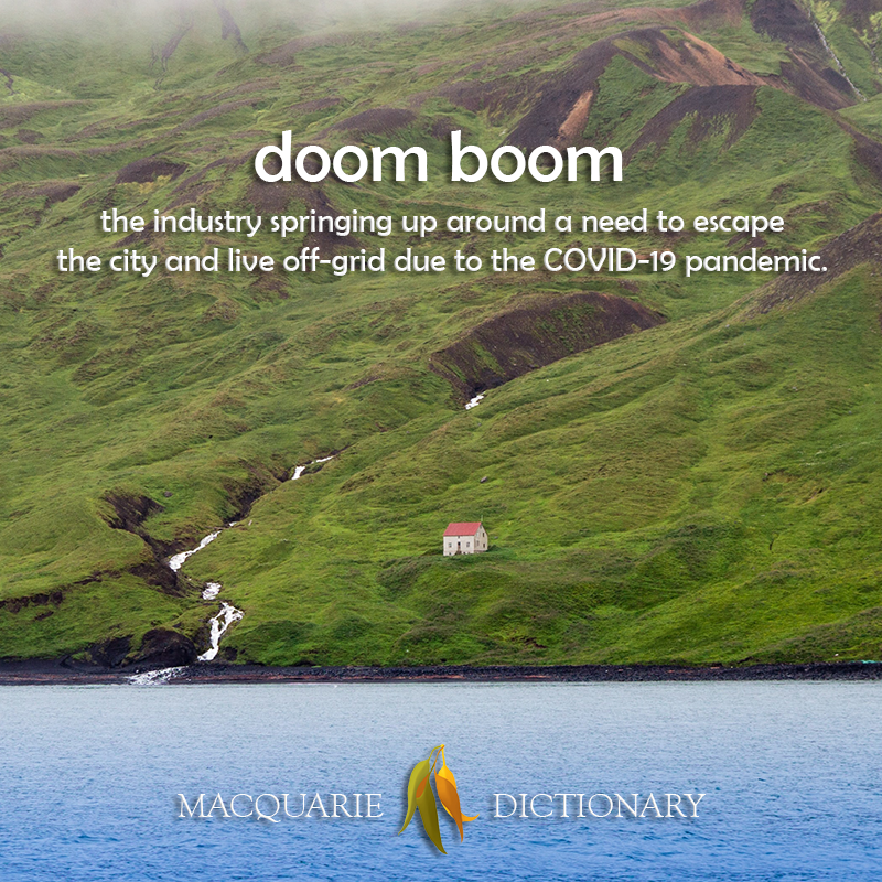 New words square - doom boom - the industry  around a need to live off-grid due to covid-19