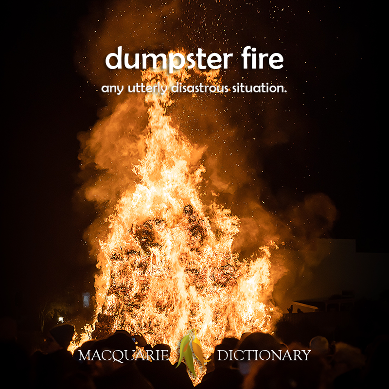 dumpster fire  -any utterly disastrous situation.