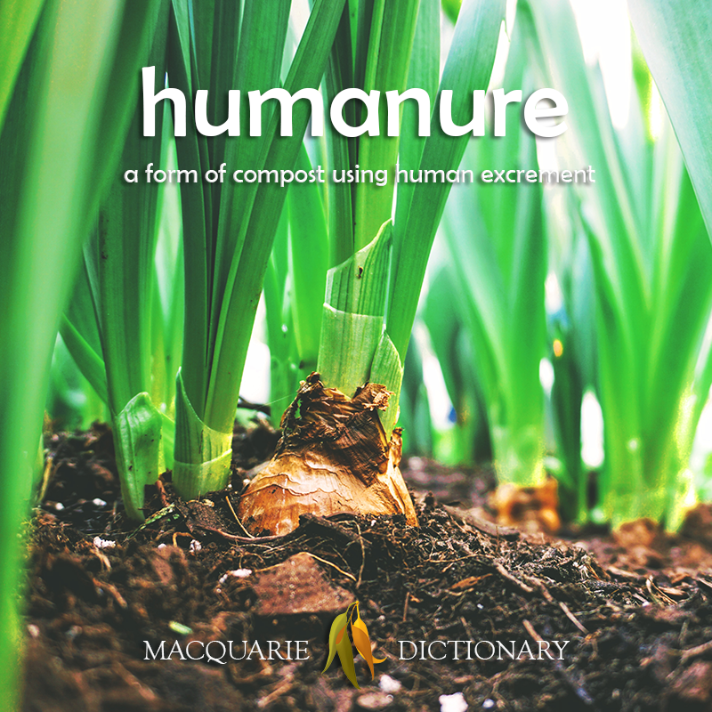 New words square - humanure - a form of compost using human excrement