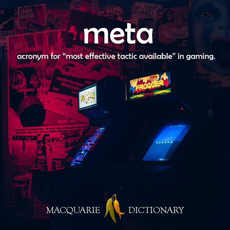New words square - meta-  acronym for most effective tactic available in gaming