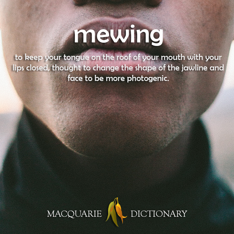 Image of definition of mewing: to keep your tongue on the roof of your mouth with your lips closed thought to change the shape of the jawline and face to be more photogenic.
