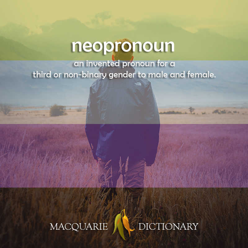 neopronoun - invented pronouns for a third or non-binary gender to male and female