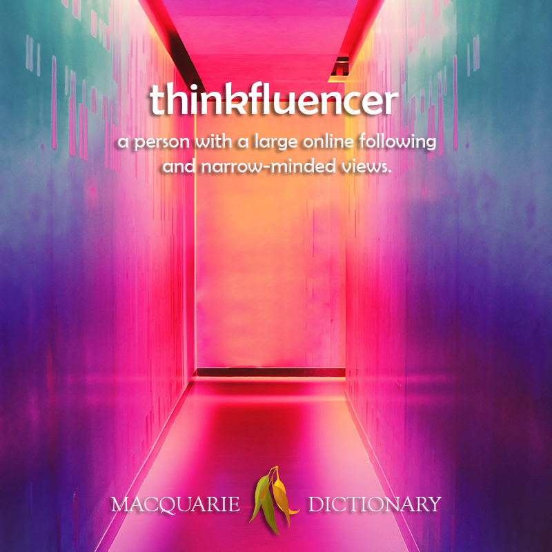 thinkfluencer - a person with a large online following and narrow-minded views