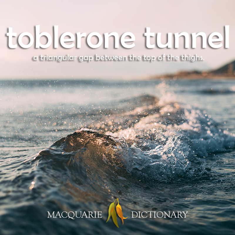 New words square - toblerone tunnel - a triangular gap between the top of the thighs