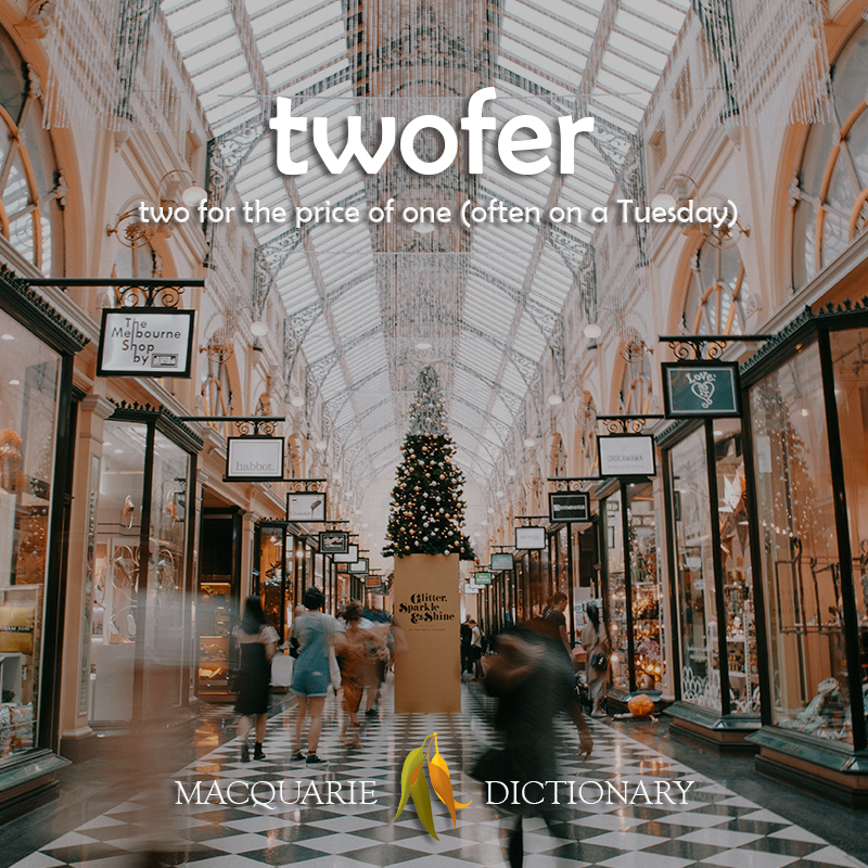 New words square - twofer - two for the price of one (often on a Tuesday)