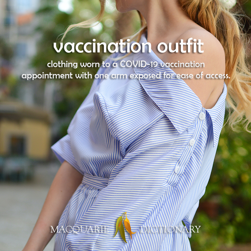 vaccination outfit - clothing worn to a COVID-19 vaccination appointment with one arm exposed for ease of access