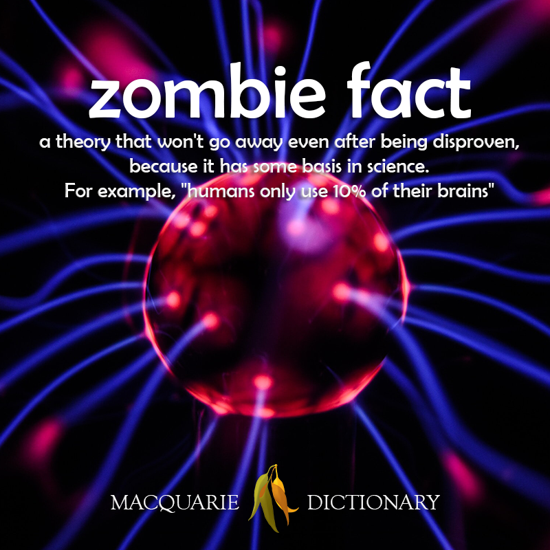 New words square - zombie fact - a theory that won't go away even after being disproven, because it has some basis in science. For example, humans only use 10 of their brains