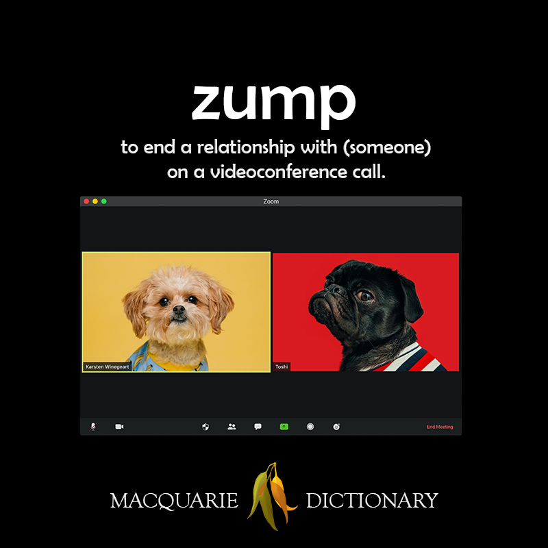 zump - to end a relationship with (someone) on a videoconference call
