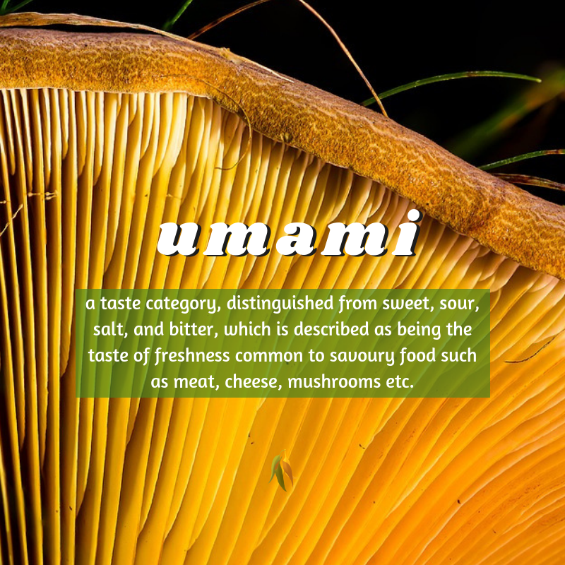 Macquarie Dictionary-umami-a taste category, distinguished from sweet, sour, salt, and bitter, which is described as being the taste of freshness common to savoury food such as meat, cheese, mushrooms etc.