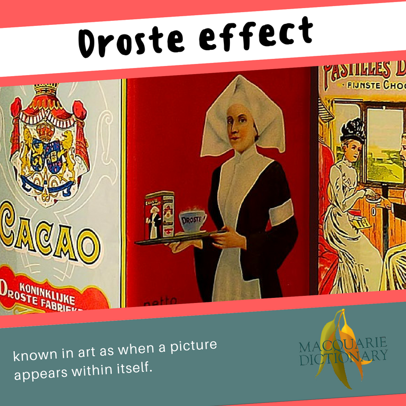 Macquarie Dictionary-Droste effect-known in art as when a picture appears within itself