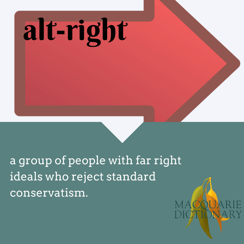 alt-right macquarie dictionary new worda group of people with far right ideals who reject standard conservatism.