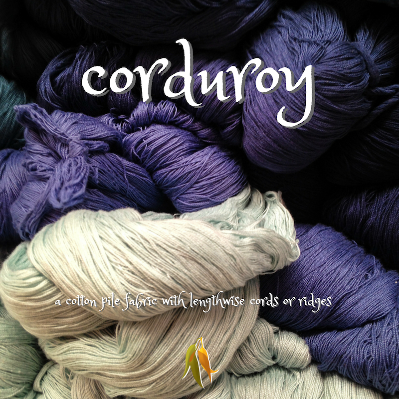 beautiful words - corduroy - a cotton pile fabric with lengthwise cords or ridges